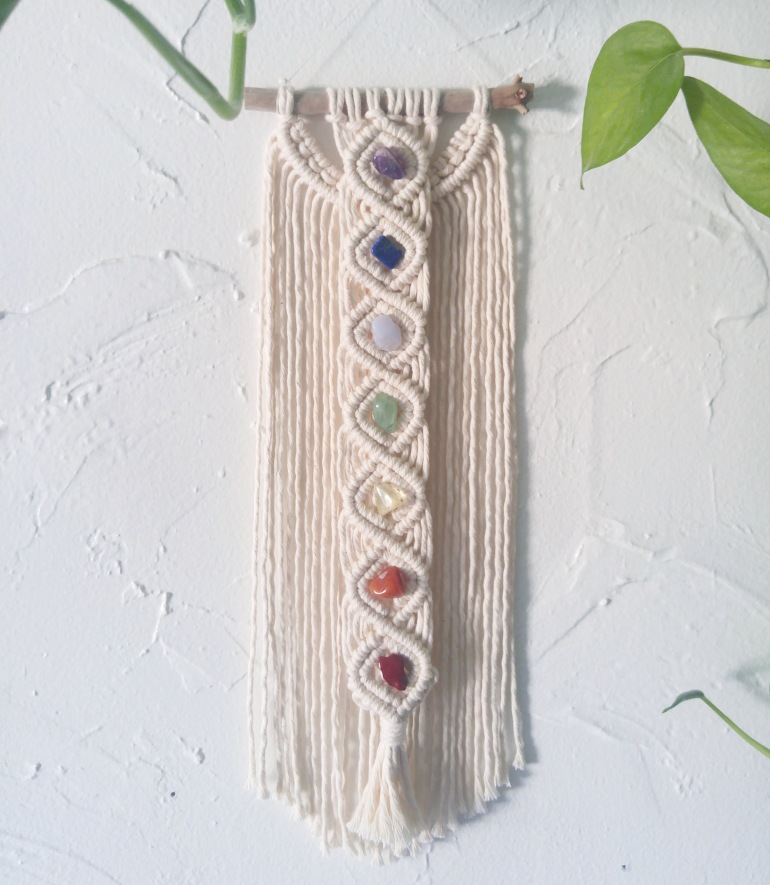 Crystal Chakras Mini Macrame Wall Hanging by Grace Lucille